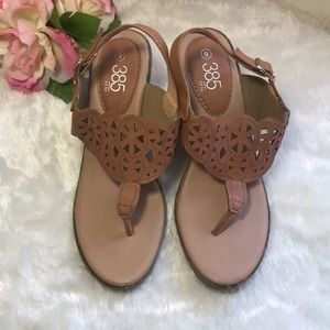 385 Fifth wedge sandals